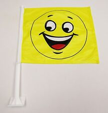 2 Premium Dealership Advertising Window Car Flags (2) Smiley Face Flags