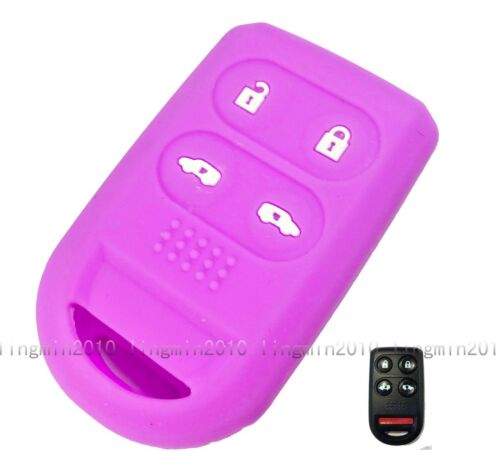 4 buttons Purple Silicone Skin Cover Remote Key Shell Holder For Honda Odyssey