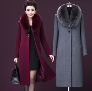 21a0e9962a1 Winter Women s Cashmere Wool Blend Trench Overcoat Fur Collar Large ...