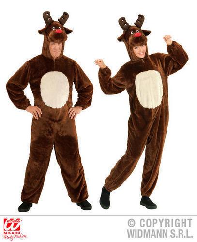 Adult Plush Reindeer Jumpsuit Rudolph Christmas Fancy Dress Costume Outfit M//L