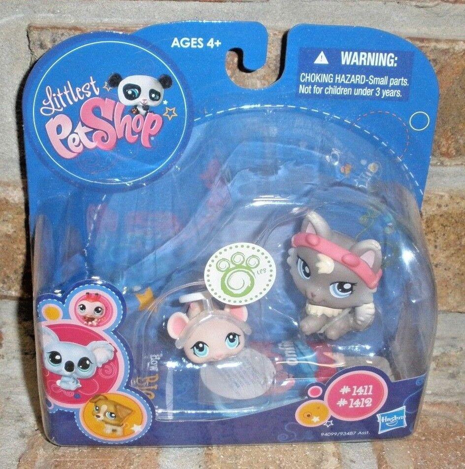 Littlest Pet Shop DEVIL Ear Cat 1411 ANGEL, halo halo halo MOUSE 1412 RARE 2009 dog, wolf 3a6f18