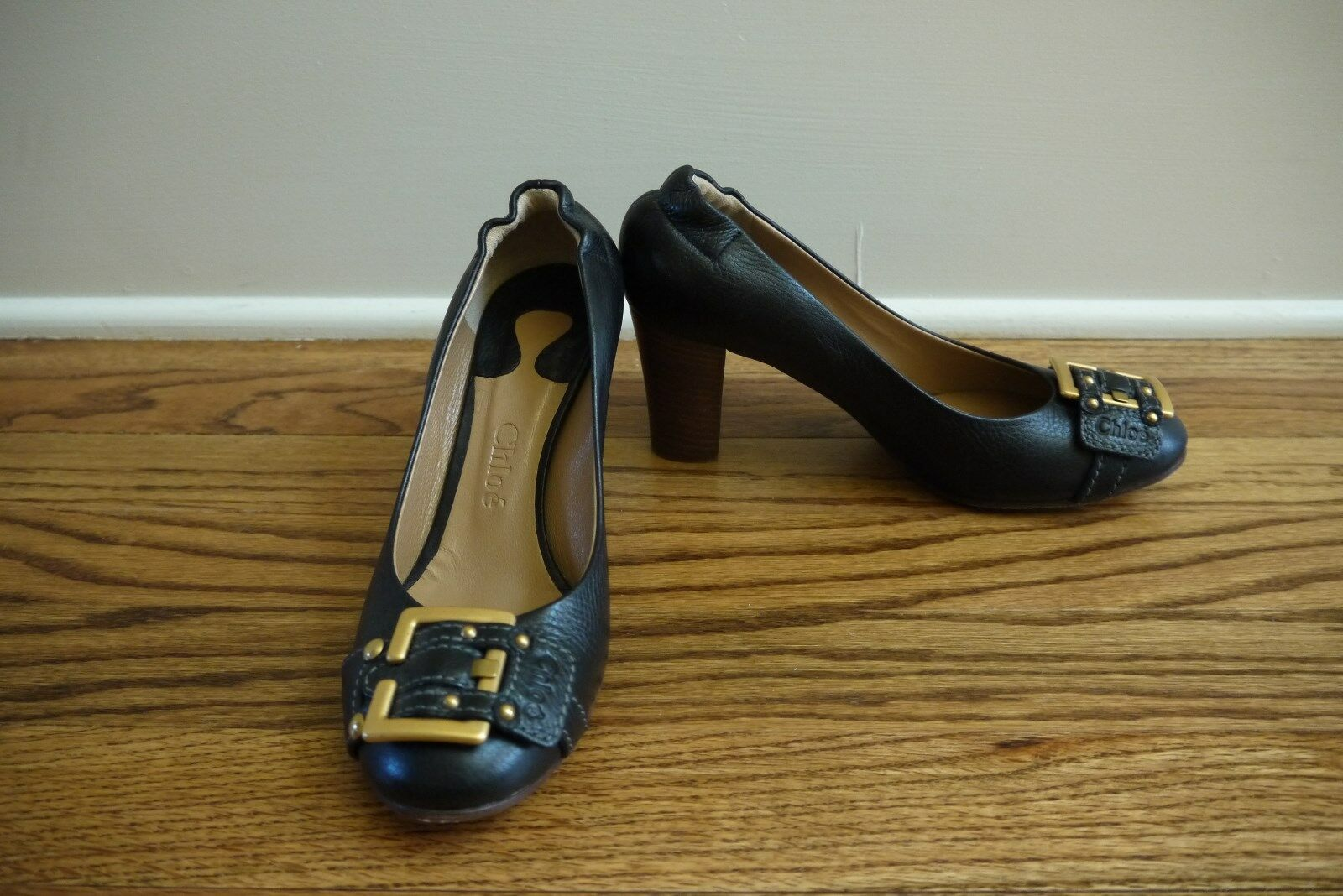 Chloe Pumps High Heels shoes Black Leather gold Buckle  Sz 36.5