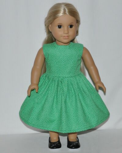 "Green White Polk A Dot Doll Dress Clothes Fits 18"" American Girl Dolls"