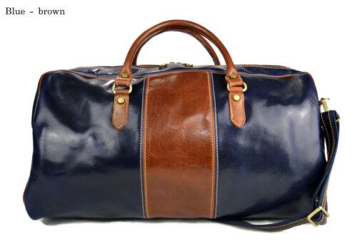 Borsone uomo donna borsa viaggio con manici e tracolla vera pelle blu marrone