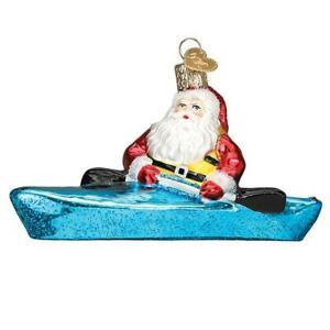 Old-World-Christmas-SANTA-IN-KAYAK-40316-N-Glass-Ornament-w-Box