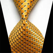Mens Fashion Classic Gold Black Striped Tie Jacquard Woven Silk Suits Necktie