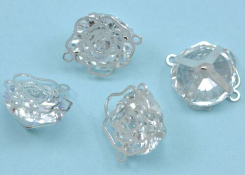 1x Caged Crystal Silver Tone Filigree Rose Flower Connector Jewellery Making