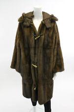 NEW FENDI Brown Hooded Mink Fur Reversible Coat Sz 40