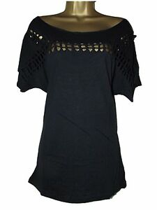 NEW-LADIES-EX-ASOS-KNOT-LATTICE-CUT-OUT-OVER-CASUAL-OFF-SHOULDER-BEACH-TOP-10-18