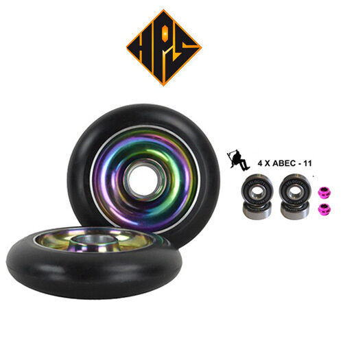 1 pair pro stunt scooter wheels metal core neo chrome 100mm 88a abec 11 bearings