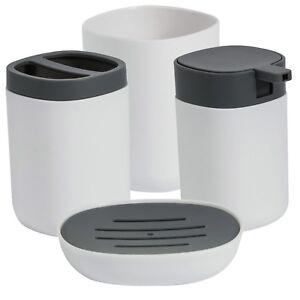 White Grey Plastic 4 Piece Bathroom