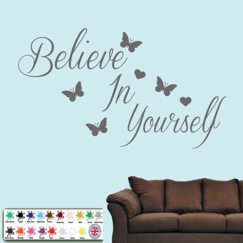 Croyez en vous Autocollant Mural-wall art quote inspiration amour coeurs