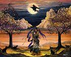 Folk Art Halloween PRINT Halloween Dance Witch Magick Trees PRINT Byrum