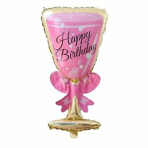 Image Is Loading XL Happy Birthday Cocktail Glass Foil Balloon 90cm