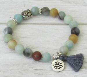 Amazonite-mala-Buddhist-meditation-prayer-bracelet-tassel-yoga-gemstone-beaded