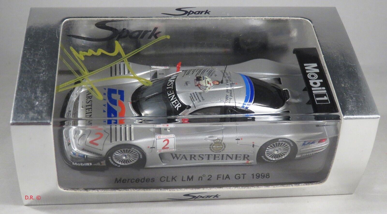 MERCEDES CLK LM  2 LAGUNA SECA FIA GT 1998 K. Ludwig LAST RACE signed SPARK 1 43