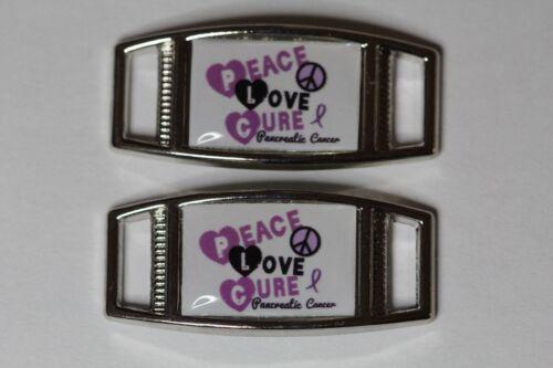 2 shoes//paracord Peace Love Cure Pancreatic Cancer Rec shoelace charm pair