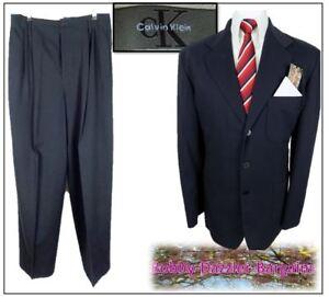 Calvin Klein Mens 2 Piece Suit Ch44 R W32 L31 Navy High Waist