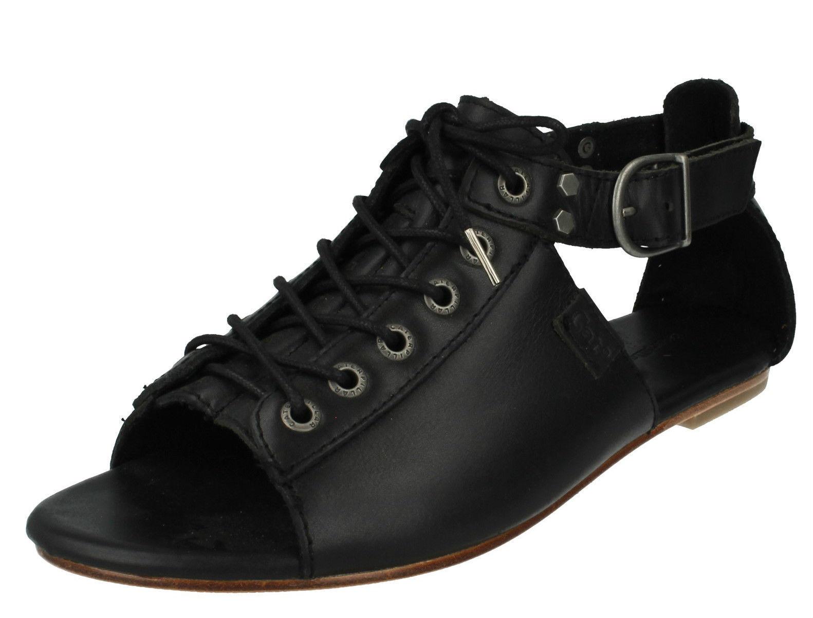Caterpillar MEGHAN P305538 Ladies Black Leather Flat Sandals (36B) (Kett)