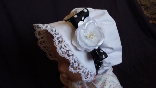 Baby Toddler Girls  Prairie Style White Rose Bonnet //Sun Hat    3-12M  1-3 years