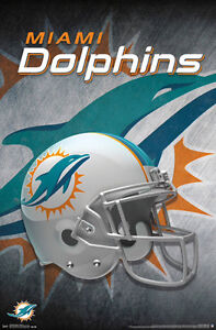 Miami Dolphins Official Team Helmet Logo Nfl Wall Poster