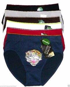 6-pk-Mens-Seamless-Microfiber-Bikinis-Briefs-SB202-Lot-Underwear-Tiger-L-XL