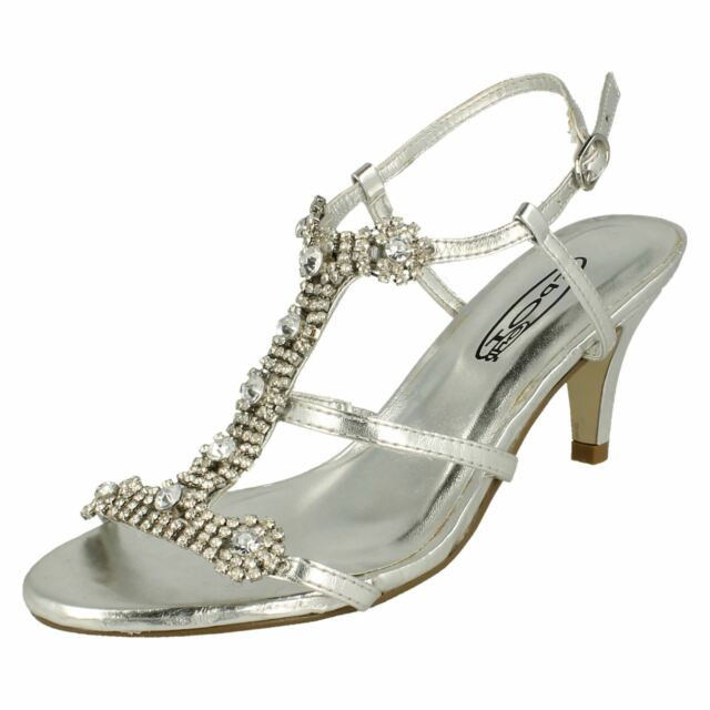 Ladies Silver Crystal Diamante Slingback Peep Toe High Heel Evening Shoes New