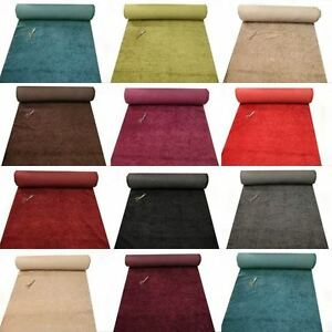 DESIGNER-LUXURY-PLAIN-HEAVY-UPHOLSTERY-CHENILLE-VELVET-WHOLESALE-FABRIC-30m-ROLL