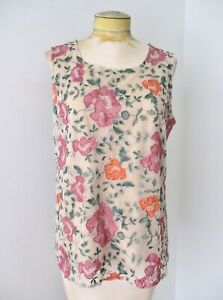 Sundance colorful floral embroidered mesh nude tank tunic top keyhole back L