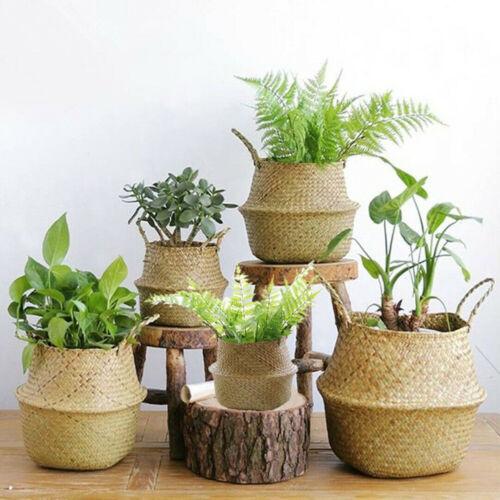 Foldable Seagrass Belly Basket Plant Pot Storage Laundry Basket Home Decor