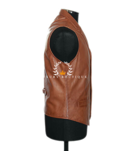 Charles Tan Men/'s Smart Formal Real Waxed Lambskin Leather Collared Waistcoat