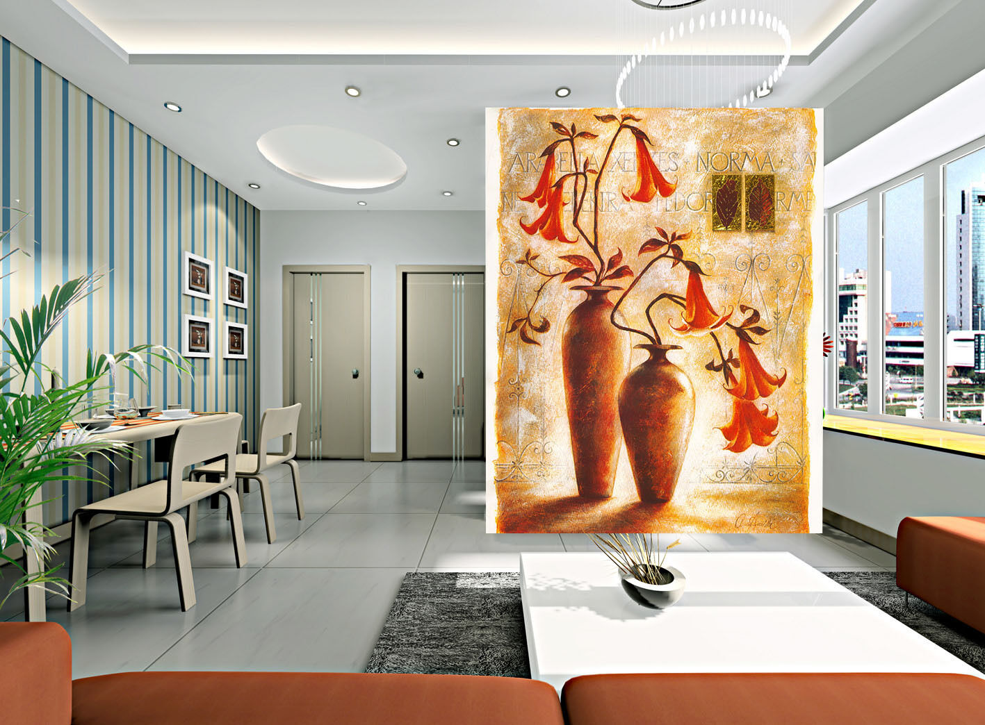 3D Arc Vase Flowers Painted Wall Paper Wall Print Decal Wall AJ WALLPAPER CA