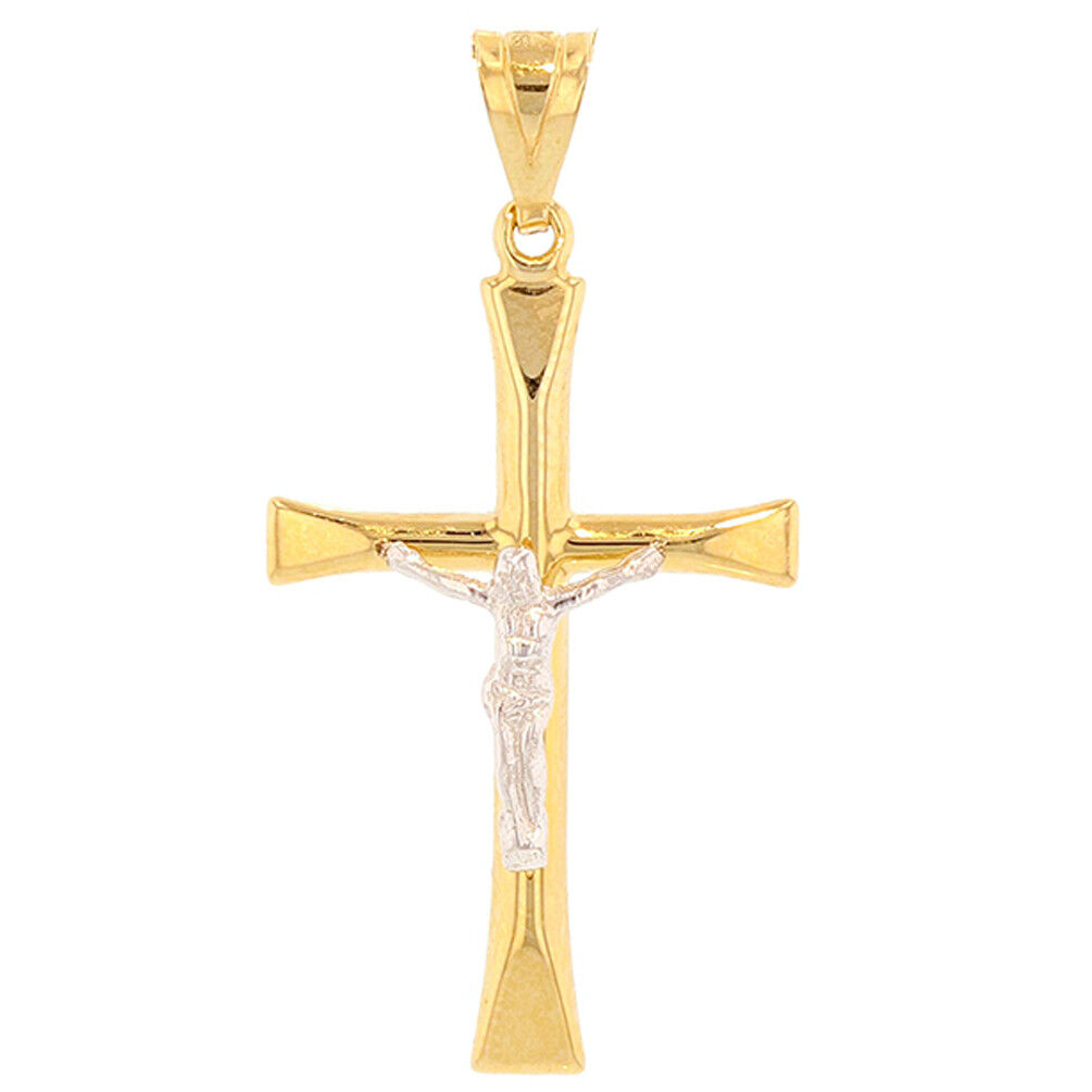 High Polished 14K Two-Tone gold Slender Religious Cross Crucifix Charm Pendant