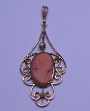 ANTIQUE 10K YELLOW GOLD CORAL CAMEO & SEED PEARL FILIGREE LAVALIERE PENDANT