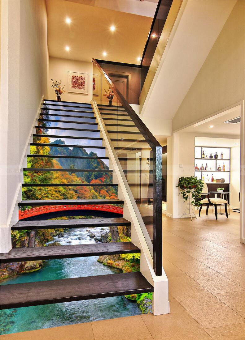 3D River rouge Bridge Stair Risers Decoration Photo Mural Vinyl Decal Wallpaper AU