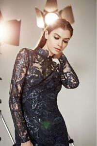 Reiss-Asabi-Blue-Sequin-Embellished-Lace-Pencil-Party-Cocktail-Dress-UK-10-38