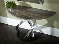 Jupiter Console Table In Replica Marble, Black Gloss Base, Chrome Plated Frame
