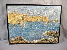 Modern Impressionist Seascape Oil Painting Spain Textured Pointillism Mid 20th C