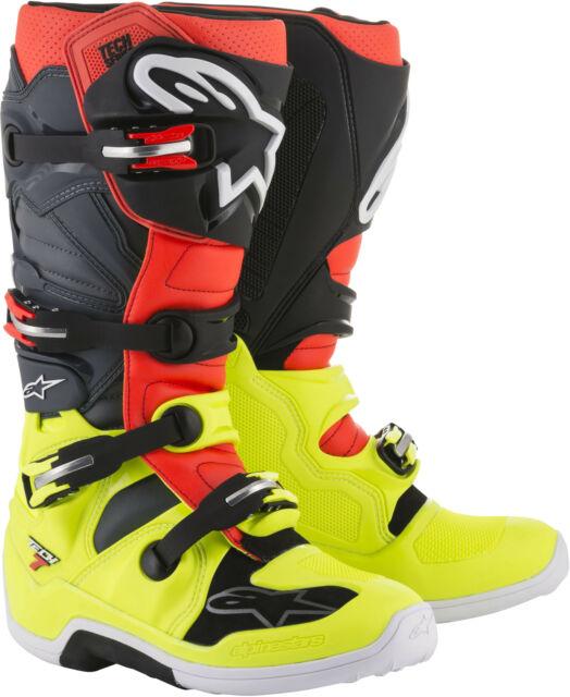 ALPINESTARS TECH 7 BOOTS RED//GREY//BLACK SZ 15 2012014-3711-15