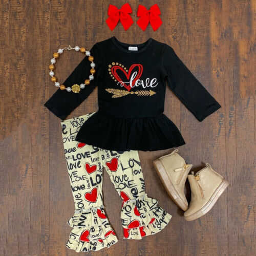 Valentine/'s Day Toddler Baby Girl Clothes Tops T-Shirt Pants Trousers Outfits