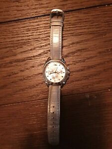 Coach-Silver-Leather-Band-Chronograph