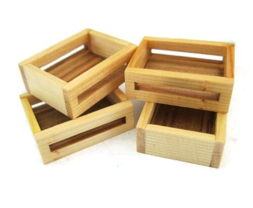 Set of 4 Dollhouse Miniatures Wooden Crate Display Vegetable Fruit