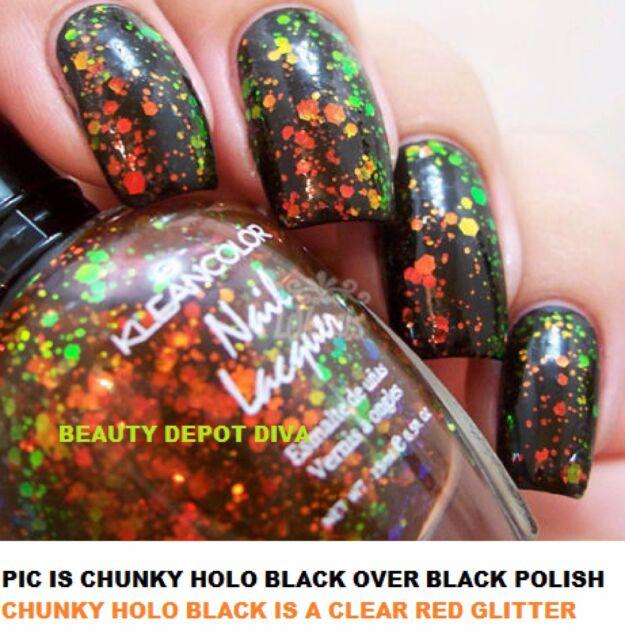 New Kleancolor Chunky Holo Black Holographic Glitter Nail Polish 236