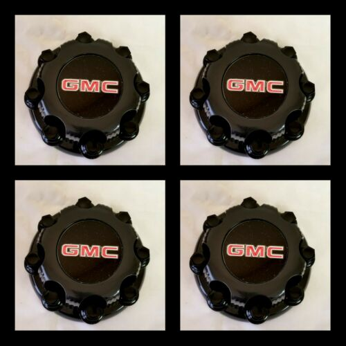 "4 Center Caps for Select  GMC Truck Van 8 Lugs BLACK 16/"" Wheel Covers with Nuts"