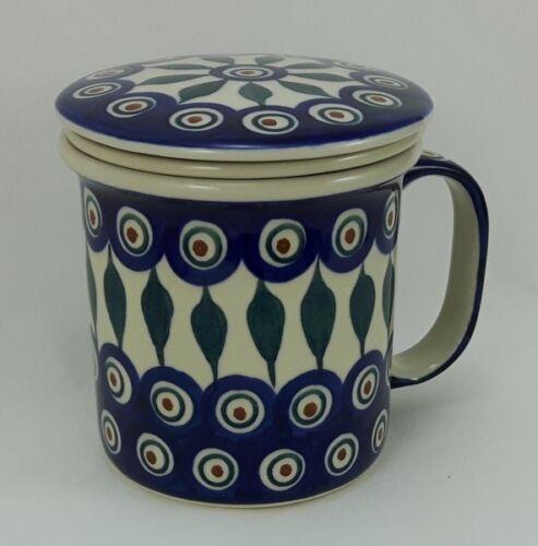blau//weiß//grün K073-54 0,3 Liter, Bunzlauer Keramik Teetasse mit Sieb