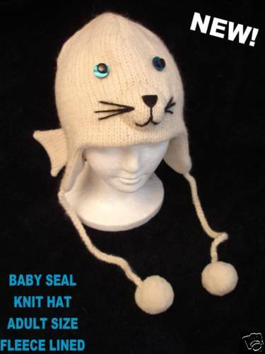 ADULT BABY SEAL HAT sea lion KNIT animal costume beanie snow white flipper toque