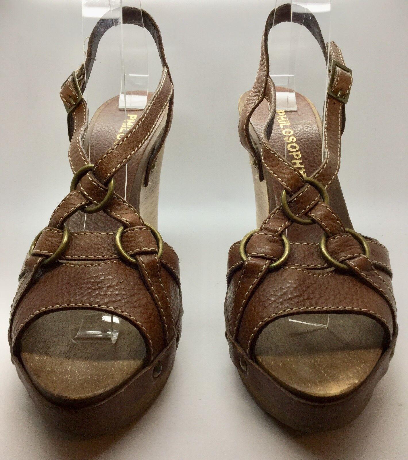 PHILOSOPHY Braun Leder Strappy Wedge Sandale Größe 39