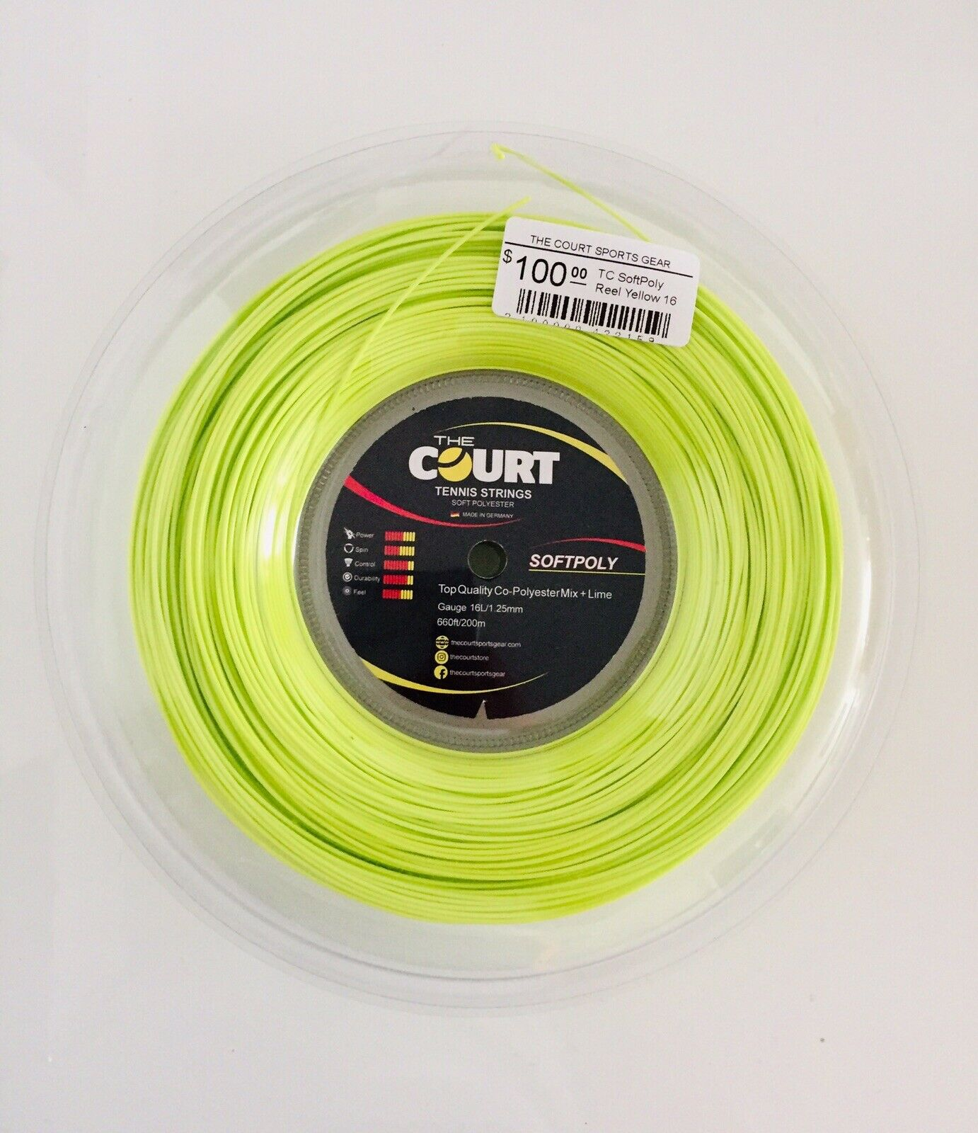 The Court Tennis Strings Reel Yellow SoftPoly 16L 1.25mm