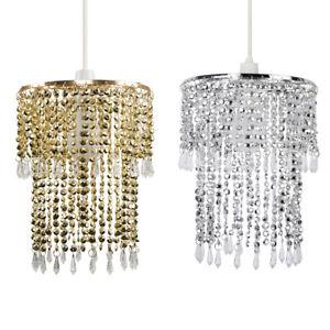 Modern-Chrome-Clear-Acrylic-Crystal-Droplet-Ceiling-Pendant-Light-Lamp-Shade
