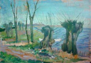 Peter-LUDERS-1872-1945-Hamburg-selten-Pastell-Aquarell-KOPFWEIDEN-AM-SEE